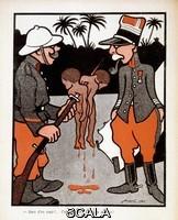 Jossot, Henri-Gustave (1866-1951) 'Deux d'un coup! Superbe, tu auras la croix!': caricature sur des soldats francais ayant tue des petits africains, in 'L'Assiette au Beurre : Dressage', 1904