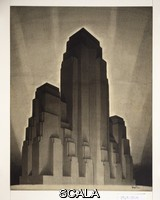 Ferriss, Hugh (1889-1962) Drawing: Study for Maximum Mass Permitted by the 1916 New York Zoning Law, Stage 4. New York, NY, 1922