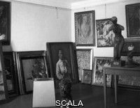 ******** Storage of confiscated artworks considered as 'degenerate art' (Entartete Kunst) in the castle of Niederschoenhausen. Among others, works by:  Karl Hofer, Wilhelm Lehmbruck, Christian Rohlfs and Otto Dix. Berlin, 1937. Black and white photograph