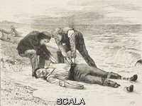 ******** A man drowned pulled ashore, from the novel By Celia's Arbour, chapter XIII, by Walter Besant and James Rice, United Kingdom, illustration from the magazine The Graphic, volume XVI, no 411, October 13, 1877.