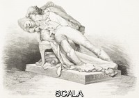******** The suicide, monument to Jacopo Ortis by Ettore Ferrari (1848-1929), 1878 Paris Universal Exposition, France, engraving from L'Illustrazione Italiana, Year 5, No 36, September 8, 1878.