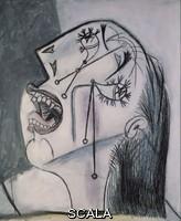 Picasso, Pablo (1881-1973) Weeping Woman's Head (I). Postscript of «Guernica»', 1937, Oil, graphite and colour stick on canvas, 55 x 46 cm, DE00103