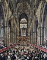 Edwards, Edward (1738-1806) Interno dell'abbazia di Westminster durante la commemorazione di George Frideric Handel, 1793. Olio su tela, 147,3x122 cm. Regno Unito, XVIII secolo.