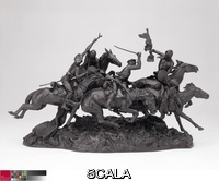 Remington, Frederic (1861-1909) The Old Dragoons of 1850, modeled 1905, cast 1905/09. Bronze with black patina, 73 x 119.3 x 43.8 cm (28 3/4 x 47 x 17 1/4 in.). George F. Harding Collection, 1982.819.