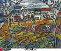 Vlaminck, Maurice de (1876-1958) Houses at Chatou, c. 1905. Oil on canvas, 32 x 40 in. (81.3 x 101.6 cm). Gift of Mr. and Mrs. Maurice E. Culberg, 1951.19.