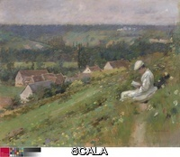 Robinson, Theodore (1852-1896) The Valley of Arconville, c. 1887. Oil on canvas, 45.8 x 55.7 cm (18 x 21 7/8 in.). Friends of American Art Collection, 1941.11.