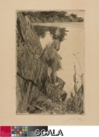 Zorn, Anders (1860-1920) Bather (Evening) III, 1896. Etching on tan wove paper, 233 x 152 mm (image); 240 x 159 mm (plate); 414 x 299 mm (sheet). Wallace L. DeWolf and Charles Deering Collections of Etchings by Anders Zorn, 1927.1879.