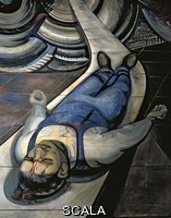 Siqueiros, David Alfaro (1896-1974) For the Complete Safety of All Mexicans at Work, detail of Injured Worker