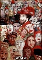 Ensor, James (1860-1949) Autoportrait entoure de masques, 1899. Peinture. Dim. 120x180 cm.