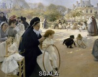 Edelfelt, Albert (1854-1905) The Luxembourg Gardens in Paris, 1887, painting , oil on canvas, 144x188 cm. Detail.