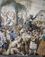 Pinelli, Bartolomeo (1781-1835) Chivalrous scene at San Carlo al Corso in Rome, by Bartolomeo Pinelli (1781-1835). Detail.