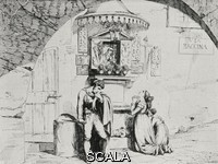 ******** A thug offering a dagger to the Virgin on Easter Sunday, Rome, Italy, from an 1831 pring by Bartolomeo Pinelli, from L'Illustrazione Italiana, Year XL, No 12, March 23, 1913.