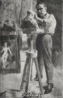 ******** The sculptor Paolo Troubetzkoy (1866-1938) making the bust of the painter Anders Zorn, etching by Anders Zorn, from L'Illustrazione Italiana, Year XL, No 15, April 13, 1913.