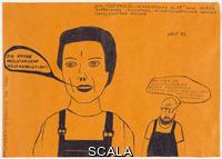 West, Franz (b. 1947) Untitled (Serie: Das Tendenziös-Marxistisch), 1975. Ballpoint pen on colored paper, 7 3/4 x 11