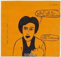 West, Franz (b. 1947) Untitled (Serie: kritisches Blatt), 1975. Ballpoint pen on colored envelope, 7 1/4 x 7 5/8