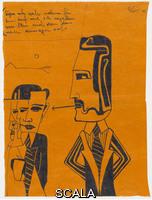 West, Franz (b. 1947) Untitled, 1975. Felt-tip pen on colored paper, 11 x 8 1/4