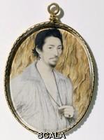 Hilliard, Nicholas (1547 ca.-1619) An Unknown Man, Portrait miniature, ca. 1600