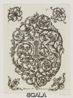 ******** Disegno per serratura da 'Diverses pieces de Serruriers', con disegni di Hugues Brisville, incisi da Jean Berain il Vecchio (1638-1711), pubblicato da Nicolas Langlois il Vecchio (1640-1703), Parigi, 1662 (prima edizione). Incisione e acquaforte. Inv. n.: E.6082-1906