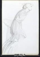 Burne-Jones, Edward (1833-1898) Female Figure from The Chariot Frieze in The British Museum; P.41 from a sketchbook. English, 1866-1867
