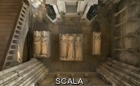 ******** Royal tombs seen from above, with effigies of (left-right) John II the Good, 1319-1364, Philippe VI of Valois, 1293-1350, Philippe V Le Long, 1294-1322, Jeanne d'Evreux, 1307-71, Charles IV the Fair, 1294-1328 and Blanche of France, 1328-93, in the Basilique Saint-Denis, Paris, France. Behind is the tomb of Henri II, 1519-59, and Catherine de Medici, 1519-89, with statues of the virtues, made 1560-73 by Francesco Primaticcio, Jacquio Ponce and Germain Pilon. The basilica is a large medieval 12th century Gothic abbey church and burial site of French kings from 10th - 18th centuries. Picture by Manuel Cohen