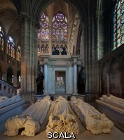******** Royal tombs, with effigies of John II the Good, 1319-1364, Philippe VI of Valois, 1293-1350, Philippe V Le Long, 1294-1322, Jeanne d'Evreux, 1307-71, Charles IV the Fair, 1294-1328 and Blanche of France, 1328-93, in the Basilique Saint-Denis, Paris, France. Behind is the tomb of Henri II, 1519-59, and Catherine de Medici, 1519-89, with statues of the virtues, made 1560-73 by Francesco Primaticcio, Jacquio Ponce and Germain Pilon. The basilica is a large medieval 12th century Gothic abbey church and burial site of French kings from 10th - 18th centuries. Picture by Manuel Cohen