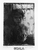 Zorn, Anders (1860-1920) An Irish Girl, 1894. Etching and drypoint. Image: 10 7/8 x 7 13/16 in. (27.7 x 19.8 cm); sheet: 17 7/16 x 13 9/16 in. (44.3 x 34.5 cm). Ackland Fund. N. Inv. : 81.22.2