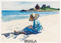 Hopper, Edward (1882-1967) (Jo Sketching at Good Harbor Beach). (1923-1924). Watercolor and fabricated chalk on paper. Sheet (Irregular): 13 7/8 x 19 15/16in. (35.2 x 50.6 cm). Josephine N. Hopper Bequest. Inv. N.: 70.1129