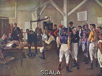 ******** The Weighing Room at Hurst Park by John Lavery picturing famous jockeys of the day - from left, McLachlan, Steve Donoghue (in the scales), Bullock, Smirke, Weston, Beary, Pat Donoghue, R. Jones, V.Smythe, Carslake, Collins, Wragg and McLachlan junior.. 19