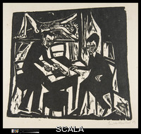 Heckel, Erich (1883-1970) Two Men at a Table. 1913. Woodcut, dim. not available. Gift of J.B. Neumann, 1924 (24.81.9)