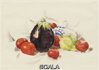 Demuth, Charles (1883-1935) Eggplant and Tomatoes, 1926. Watercolor on paper, 14 1/8 x 20