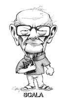 ******** Arthur C. Clarke. Caricature of the British-born science fiction writer, inventor and futurist Sir Arthur Charles Clarke (1917-2008). Clarke was famous for his classic science fiction novels, including the screenplay of the 1968 movie '2001: A Space Odyssey' (co-authored with the director Stanley Kubrick). He wrote over 70 works of fiction and non- fiction, predicting numerous scientific advances. In 1945, he described the use of the geostationary (Clarke) orbit for satellites that would (25 years later) revolutionise telecommunications.