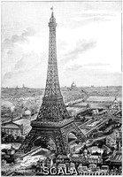 ******** Eiffel Tower. View of the Eiffel Tower and the Champ de Mars at the time of the Universal Exposition of 1889, as seen from the hill of the Trocadero on the other side of the River Seine. The Eiffel Tower, 324 metres tall, was built as the entrance arch for this Universal Exposition (World Fair) that marked the 100th anniversary of the French Revolution. The exhibition halls (behind the tower) contained over 60, 000 exhibits, seen by over 32 million visitors. On the horizon are other Parisian landmarks, including the dome of Les Invalides. Artwork from the third volume (first period of 1889) of the French popular science weekly 'La Science Illustree'.