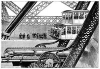 ******** Eiffel Tower lift and hydraulics. 19th-century artwork of one of the Roux-Combaluzier cable-driven lifts, as used in the East and West legs of the Eiffel Tower, Paris, France. This depicts a scene after the opening of the Eiffel Tower at the Universal Exposition (World Fair) of 1889 for which it was built as the entrance archway. The lifts in the North and South legs were built by US company Otis. The Roux-Combaluzier lifts were capable of transporting 100 people at a speed of 1 metre per second. The hydraulics are seen at bottom. Artwork from the 4th volume (second period of 1889) of the French popular science weekly 'La Science Illustree'.