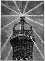 ******** Eiffel Tower's electric lamp. 19th-century artwork of the large electric light (100 amps, 500 horsepower, 8 million carcels) installed at the top of the Eiffel Tower after its construction for the Universal Exposition (World Fair) of 1889 in Paris, France. Referred to as the 'phare electrique' (electric lighthouse), this lamp was installed above the apartments that Eiffel has had built at the top of the tower for his personal use. Birds would sometimes be killed as they flew into the tower, attracted or confused by the light. Artwork from the 4th volume (second period of 1889) of the French popular science weekly 'La Science Illustree'.