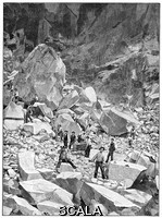 ******** Ravaccione marble quarry, historical artwork. This quarry is in the Ravaccione quarrying valley near Carrara, Tuscany, Italy. It is one of the three areas that are the sources of the famous white Carrara marble used for architecture and building construction. The Ravaccione quarries are located at an elevation of around 444 metres in the Apuan Alps. They have been carved deep into the mountains, creating large underground caverns. Artwork from the third edition of 'Les Entrailles de la Terre' (1902) by French author Eugene Caustier.