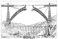 ******** Garabit viaduct. 19th-century illustration of the construction of the Garabit viaduct, a railroad bridge built between 1880 and 1884 to a design by Gustave Eiffel. The main arch shown here spans 165 metres over the river Truyere in southern France. The total length of the bridge is 565 metres. Artwork from 'Chemins de Fer, Automobiles' (1911) by French civil engineer Max de Nansouty (1854-1913), part of the 'Les merveilles de la science' series of 1867-1891 by Louis Figuier.