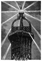 ******** Eiffel Tower's electric lamp. Artwork of the large electric light (100 amps, 500 horsepower, 8 million carcels) installed at the top of the Eiffel Tower after its construction for the Universal Exposition (World Fair) of 1889 in Paris, France. Referred to as the 'phare electrique' (electric lighthouse), this lamp was installed above the apartments that Eiffel had built at the top of the tower for his personal use. Birds would sometimes be killed as they flew into the tower, attracted or confused by the light. Artwork from 'Electricite' (1911) by Max de Nansouty, part of the 'Les merveilles de la science' series of 1867-1891 by Louis Figuier.