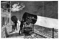 ******** Eiffel Tower's searchlights. Historical illustration of the large electric searchlights installed on the terrace at the second stage level of the Eiffel Tower after its construction for the Universal Exposition (World Fair) of 1889 in Paris, France. The searchlights were based on the Mangin projector of the early 1880s, and were visible from 300 kilometres away. As well as these searchlights, the Eiffel Tower had a large electric lamp at its summit. A cannon is being fired at upper left. Artwork from 'Electricite' (1911) by Max de Nansouty, part of the 'Les merveilles de la science' series of 1867-1891 by Louis Figuier.
