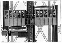 ******** Elevators (lifts) by Leon Edoux for carrying passengers to the second and third levels of the Eiffel Tower. Engraving, Paris, 1889