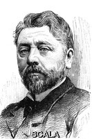 ******** Gustave Eiffel (1832-1923). 1889 illustration of the French engineer and architect Alexandre Gustave Eiffel. Eiffel is best known for designing the Eiffel Tower in Paris, France, for the 1889 Universal Exposition. He designed several other landmarks, including the Porto viaduct in Portugal, Pest railway station in Hungary and the internal structure of the Statue of Liberty. His involvement with building a Panama canal was a failure leading to his withdrawal from business.