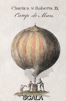 ******** Charles and Robert's balloon. Illustration of the first hydrogen balloon designed by French balloonist Jacques Charles (1746-1823) and the Robert brothers (Anne-Jean Robert, 1758-1820; Nicolas-Louis Robert, 1760-1820). They launched their balloon on 27 August 1783 from the Champ-de-Mars (now the site of the Eiffel tower). A large crowd of onlookers observed with excitement and chased the unmanned balloon 21 kilometres to its point of landing in the village of Gonesse. When the designers reached the balloon they found local villagers had attacked it with a knife and pitchforks. Among the crowd who watched the ascent was Benjamin Franklin. He realised its potential, and when later asked what use was such a balloon he replied 'well, what use is a baby'. This engraving, by Andrew Bell (1726-1809), is part of Plate 314 from the third edition (