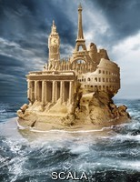 ******** European sandcastle. Conceptual image of European tourist landmarks shown as a sandcastle disintegrating into the sea, representing various crises that have affected the European Union. The tourist landmarks are the Brandenburg Gate (Berlin, Germany), the Elizabeth Tower or Big Ben (London, UK), the Eiffel Tower (Paris, France) and the Colosseum (Rome, Italy).
