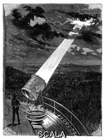 ******** Searchlight on Eiffel Tower. 19th-century illustration of clouds being illuminated by one of the large electric searchlights installed on the Eiffel Tower after its construction for the Universal Exposition (World Fair) of 1889 in Paris, France. These searchlights were based on the Mangin projector of the early 1880s, a light-signalling device used in optical telegraphy. Originally designed to be used as either a reflector of sunlight or an oil-fuelled lamp, here it has been adapted to use electrical power with the beam visible from 300 kilometres away. This illustration is from 'Physique Populaire' (Emile Desbeaux, 1891).