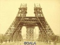 ******** Eiffel Tower construction. Initial stages of the construction of the Eiffel Tower in Paris, France, showing the first level and the start of construction on the second level. This wrought iron tower, 324 metres tall, was built from 1887 as the entrance arch for the Universal Exposition (World Fair) of 1889. At the time, it was the tallest structure in the world. This stage of the construction is from 15 May 1888, with a central support structure still present (later removed). The tower is named after its designer the French engineer Gustave Eiffel. This albumen silver print is from a photograph by Louis-Emile Durandelle (1839-1917).