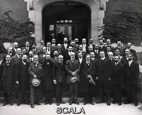 ******** Freud and Jung at Clark University, USA, 1909. Group portrait of attendees at the 20th anniversary psychology conference at Clark University, Massachusetts, USA, in September 1909. Austrian psychologist Sigmund Freud, on his only visit to the USA, gave five lectures. Freud and Swiss psychologist Carl Jung (who also spoke) were then relatively unknown, but were awarded honorary degrees. Front row (left to right): Franz Boas, Edward Titchener, William James, William Stern, Leo Burgerstein, G. Stanley Hall (university president), Sigmund Freud, Carl Jung, Adolf Meyer, Herbert Jennings. The other recipients of honorary degrees were: Boas, Titchener, Stern, Burgerstein, Meyer and Jennings. Freud and Jung were key figures in the development of two major schools of psychology (Freudian and Jungian). Photographed on 10 September 1909. Full identi