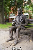 ******** Statue of Alan Turing (1912-1954), the mathematician and 'father of computer science', in Sackville Gardens, Manchester, UK. The bronze statue, by sculptor Glyn Hughes, was unveiled in 2001. Turing is holding an apple, the fruit that he laced with cyanide to commit suicide, and also a symbol of forbidden love.