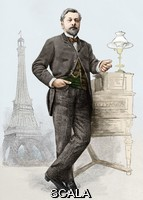 ******** Alexandre Gustave Eiffel (1832-1923). Historical artwork of the French engineer, Eiffel, with his most famous work the Eiffel Tower in the background. He was one of France's most prolific engineers and particularly famed for his bridge designs, including a 160-metre span railway bridge across the River Douro in Portugal. The Eiffel Tower at the Champs-de-Mars in Paris, was erected for the 1889 Paris Exhibition. The open-lattice steel tower stands 300 metres high, and was the tallest man-made construction in the world until 1930. Eiffel also designed the framework for the Statue of Liberty in New York, and built the world's first aerodynamics laboratory.