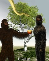 ******** Garden of Eden. Computer artwork of two hominids in the Garden of Eden. This could represent Adam and Eve, the supposed first ever people, from the story of Genesis, the first book of the Bible's Old Testament. Adam and Eve took an apple from the Tree of Knowledge which was offered by the Devil in the form of a serpent. Adam and Eve were later cast out of Eden into the world as punishment for eating the forbidden fruit.