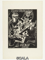 Pechstein, Max (1881-1955) Give us this day / our daily bread (Unser täglich Brot / gieb uns heute) from 'The Lord's Prayer' (Das Vater Unser), 1921. Woodcut from a portfolio of twelve woodcuts and one woodcut cover, composition: 15 11/16 x 11 5/8