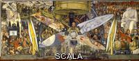 Rivera, Diego (1886-1957) Man Controller of the Universe or Man in the Time Machine (El hombre controlador del universo o El hombre en la maqina del tiempo), 1934. Fresco, 485 x 1145 cm. Full composite view of the fresco.